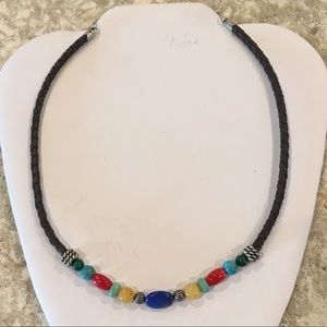 Relios Sterling & Braided Leather Stone Necklace